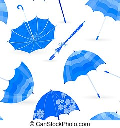 monochrome fashion seamless texture with blue umbrellas for your