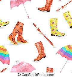 seamless texture with fashion collection of cute rubber boots an