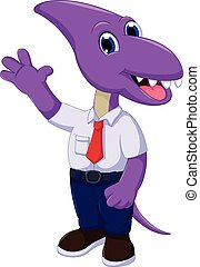 cute dinosaur cartoon wearing school uniform - vector...