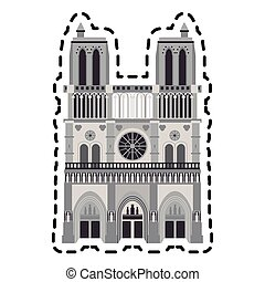 notre dame cathedral icon over white background. colorful...