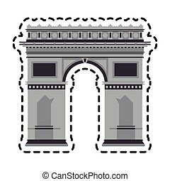 arc of triomphe icon over white background. colorful design....