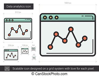Data analytics line icon. - Data analytics vector line icon...