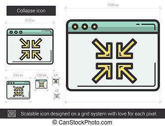 Collapse line icon. - Collapse vector line icon isolated on...