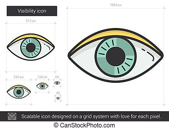 Visibility line icon. - Visibility vector line icon isolated...