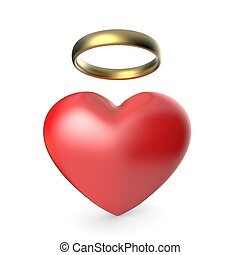Angel heart. 3D render illustration isolated on white...