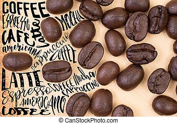Top view of roasted coffee beans with Typography. use for...
