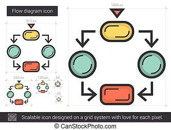 Flow diagram line icon. - Flow diagram vector line icon...