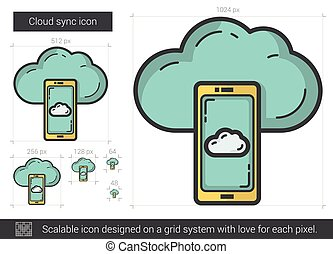Cloud sync line icon. - Cloud sync vector line icon isolated...