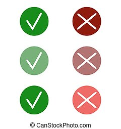 Tick icon set. Stylish check mark icon set in green and red color, vector c