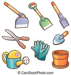 Garden Tools - Vector illustration of Cartoon Garden tools