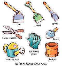 Garden Tools - Vector illustration of Cartoon Garden tools...