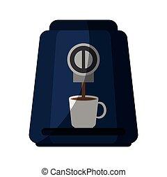 coffee machine icon over white background. colorful design....