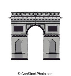 arc of triomphe icon over white background. vector...