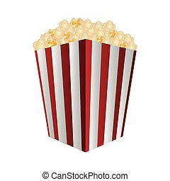 pop corn bucket icon over white background. colorful design....