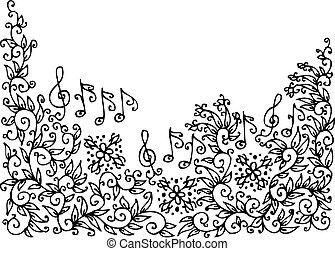 Musical vignette - Refined floral vignette 35. Eau-forte...