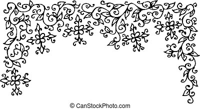 Refined Floral vignette Eau-forte decorative vector...