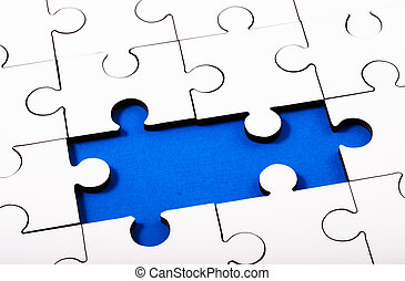 Jigsaw - White Jigsaw with two pieces missing with blue...