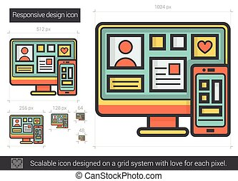 Responsive design line icon. - Responsive design line icon...