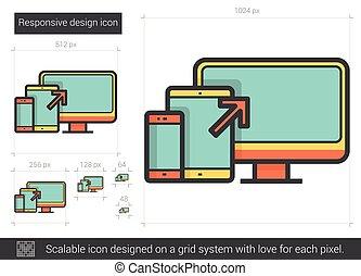 Responsive design line icon. - Responsive design vector line...