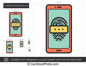 Fingerprint password line icon. - Fingerprint password...