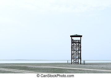 observant tower - Alone observant tower and silhouette of...