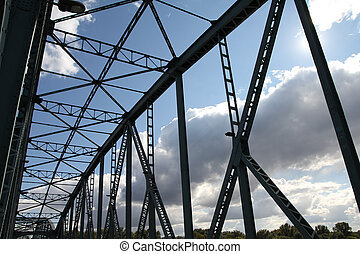 Truss bridge - Poland - Torun truss bridge steel elements....