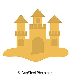 sand castle icon over white background. colorful design....