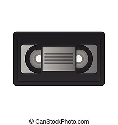 vhs tape icon over white background. colorful design. vector...