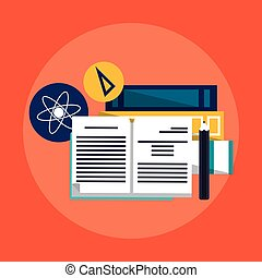 education book icon - books and pencil over red background....