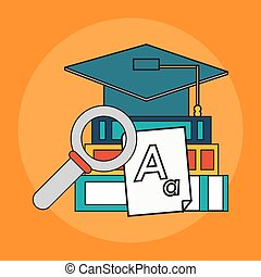 education book icon - books, magnifying glass and graduation...