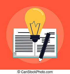 education book icon - book, bulb light and pencil over red...