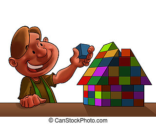 Kid with toy house