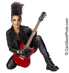 Young woman hard rock artist isolated