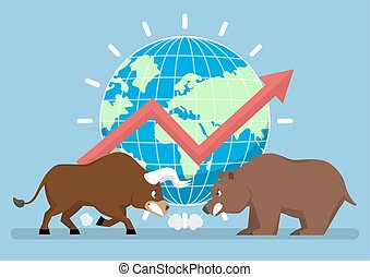 Bull and bear with world and graph in background