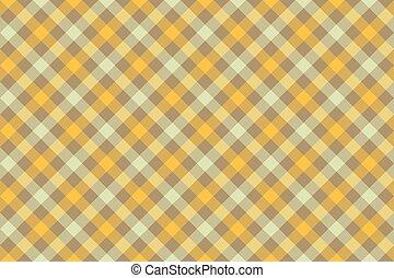Yellow check diagonal fabric texture background seamless pattern