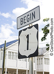 beginning of the road number 1, Key West, Florida, USA