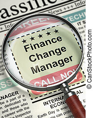Finance Change Manager Hiring Now. 3D.