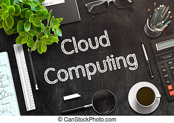 Cloud Computing on Black Chalkboard. 3D Rendering.