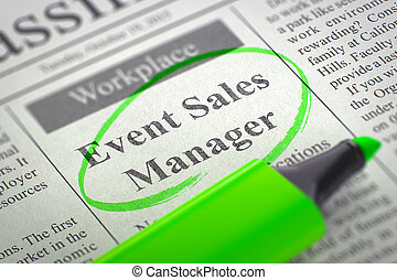 Event Sales Manager Job Vacancy. 3D. - A Newspaper Column in...