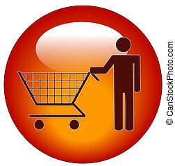 man pushing a shopping cart