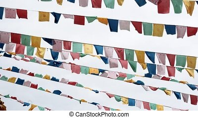 Colored ribbons near the temple in the China