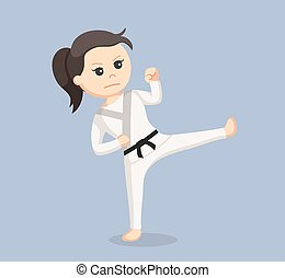 karate woman doing upper kick
