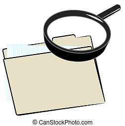 magnifying glass over top of file folder