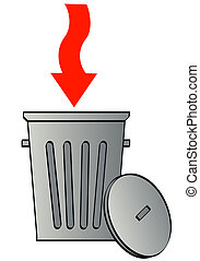 trash can with arrow pointing in garbage - trash can with...