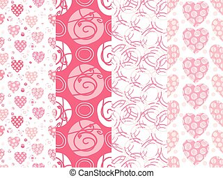 Seamless background patterns in pink color