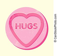 the word hugs in a giant heart shaped sweet or cookie