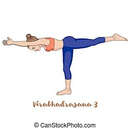 Women silhouette. Warrior 3 yoga pose. Virabhadrasana 3