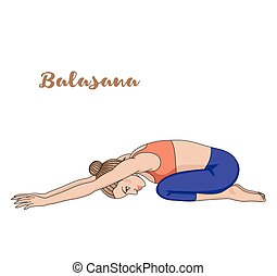 Women silhouette. Child s yoga pose. Balasana. Vector...