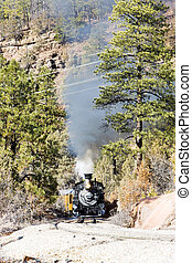 Colorado, USA - Durango and Silverton Narrow Gauge Railroad,...