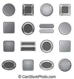 Blank web buttons icons set, monochrome style - Blank web...